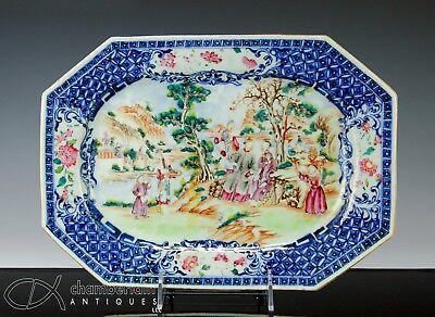 Antique Chinese Porcelain Platter With Scene Of Figures - Qianlong