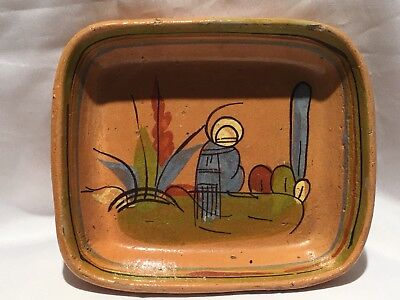 Old Vintage Hand Painted MEXICO Redware Pottery Tlaquepaque Small Serving Tray