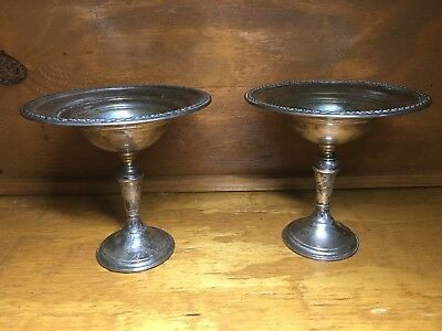 VINTAGE STERLING SILVER Roger 201 40 - 1 RAISED CANDY DISH (Lot Of 2)