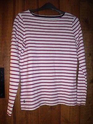 Joules Cotton Pink/White Striped Harbour Ruby Top size 8