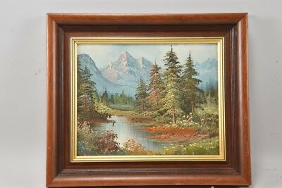 Antique German or Swiss oil painting on board framed mountain paysage unsigned