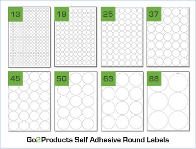 Round Labels On A4 Sheets. Circle Labels Stickers for A4 Laser & Inkjet Printers