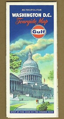Vintage 1973 Gas Station GULF OIL Co Tourgide Map of Metropolitan WASHINGTON D.C