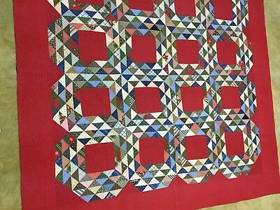 AMAZING Vintage 19th Century Ocean Waves Antique Quilt-solid red background