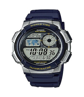 Casio Men's Quartz Multi-Function Blue Resin Band 44Mm Watch Ae1000w-2Av