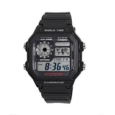 Casio Men's World Time Multifunction Black Resin Band 42mm Watch AE1200WH-1AV