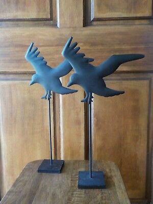Pottery Barn Crow On Stand, Black Metal Set Of 2 - Preowned