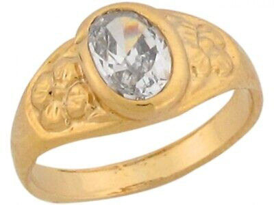 10k or 14k Real Yellow Gold White CZ Pretty Antique Style Baby Ring