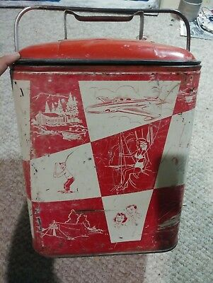 Vintage RETRO RED & WHITE CAMPING TOTE Magikooler Easy Chest Awesome L@@K!!