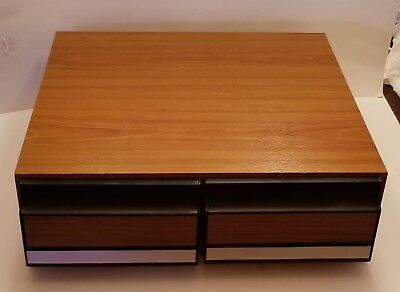 VHS Video Tape Case 2 Drawer wooden Cabinet/Box/Storage faux Wood Holds 24