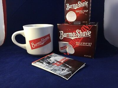 Vintage Burma Shave Shaving Cup with Soap and History of Burma Shave