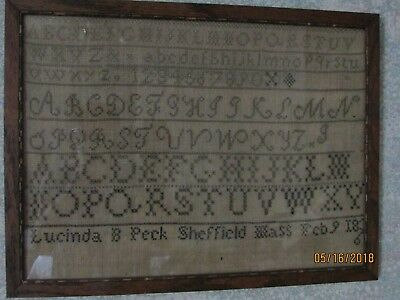 Antique embroidered cross stitch Sampler Sheffield MA 1836