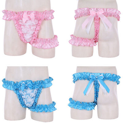 Men's Ruffle Frilly Satin Lace Sissy Maid Briefs Garter Belt Crossdress Panties