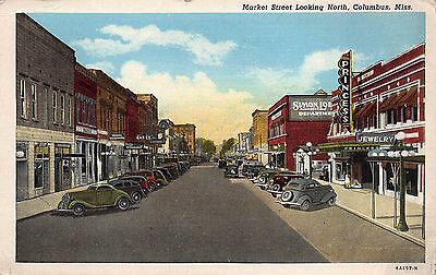 Market Street Looking North Columbus Miss MS Postcard