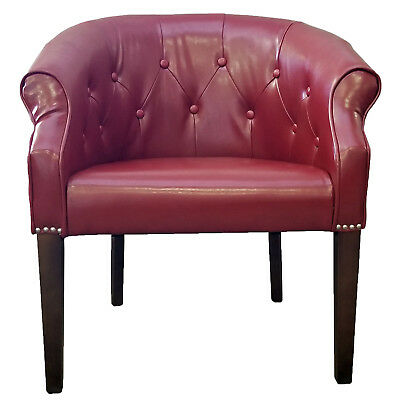 Red Leather Tub Chair with Brushed Silver Nail Head