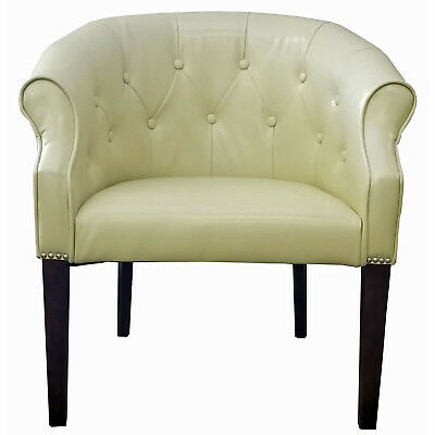 Cream Leather Tub Chair with Brushed Silver Nail head