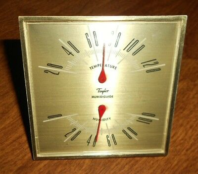 Vintage Taylor Humidiguide Temperature Humidity Gauge Gold Hang or Desk Top