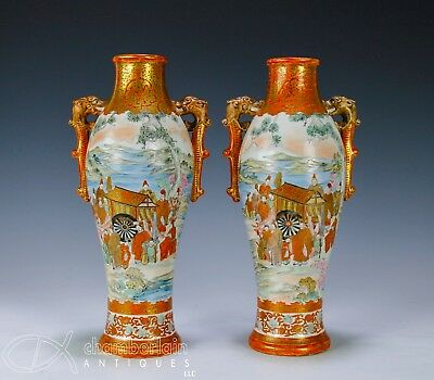 Nice Pair Of Antique Japanese Kutani Porcelain Vases With Scenes Of Figures