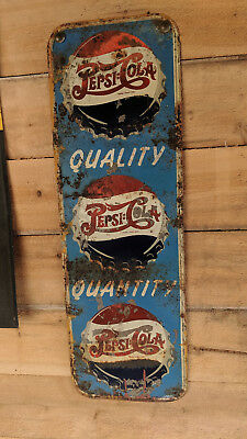 Very Rare  Double Dot Triple Cap 1940.ss Pepsi Sign Die Cut Corners Hard To Find