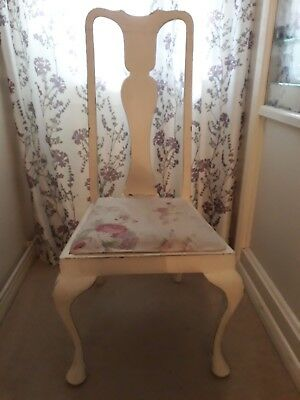 Antique Edwardian high back dining chair - re-upholstered