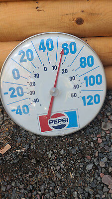 Vintage 18 Inch Pepsi Thermometer Made In Usa Dome Front Metal Back Works Great