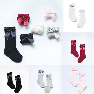 Toddler Kid Girls Knee High Long Socks Princess Bow Cotton Soft Stockings gihts