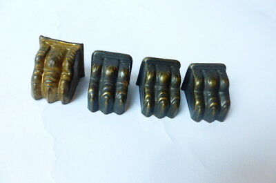 Vtg 1940s Furniture Feet Caps Brass Claw Foot Paw Foot Lot of 4