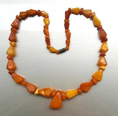 VINTAGE NATURAL BALTIC BUTTERSCOTCH YELLOW AMBER NECKLACE BEADS 19 gr