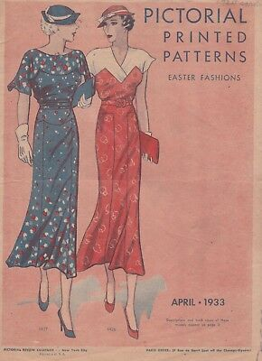 Pictorial Printed Patterns April 1933 Rare Pattern Catalog 1930s Style