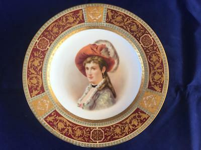 Fine Antique Royal Vienna Bohemian Porcelain Portrait Cabinet Plate.