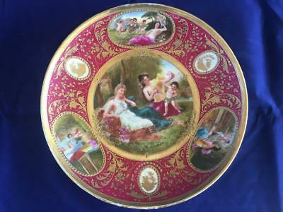 Fine Antique Royal Vienna Bohemian Porcelain Classical Cabinet Plate ~ Signed.