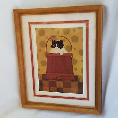 Black And White Cat In Wooden Bucket On Checker Board Farmhouse Decor Framed