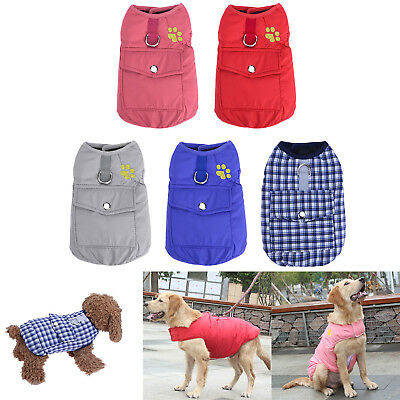 Winter Warm Cotton Pocket Pet Dog Coat Jackets for Puppy Small Medium Large Dogs