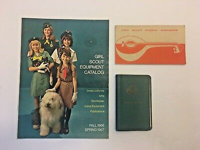 Girl Scout 1966-1967 EQUIPMENT CATALOG, Songbook (1956) & Memo Book