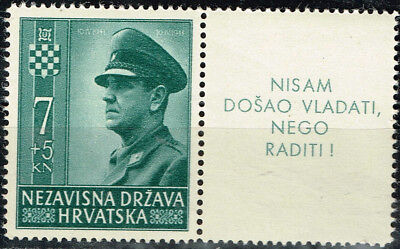 Croatia-Germany Axis WW2 Leader Ante Pavelic stamp 1943 MNH with rare label