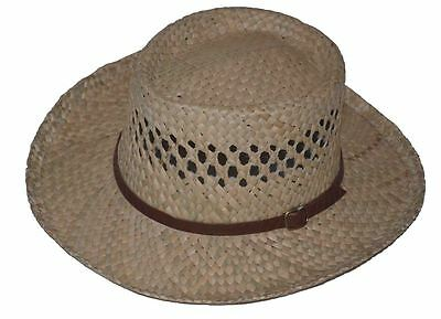 G Straw Gambler Hat with Leather Band Natural #5010