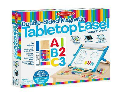 Melissa & Doug Wooden Double Sided Magnetic Tabletop Easel - White / Chalk Board