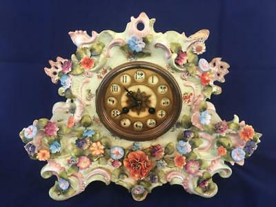 Fine Antique Dresden / Volkstedt Porcelain Applied Flower Clock.