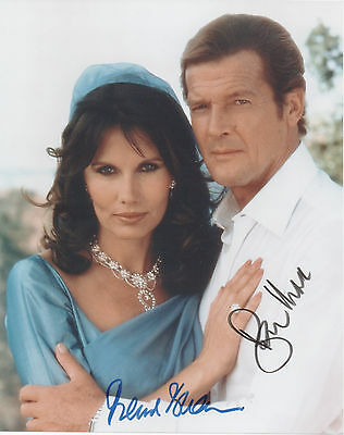 SIR ROGER MOORE & MAUD ADAMS Signed 10X8 Photo OCTOPUSSY 007 COA