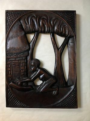 """Beautiful African Cameroon Hand Carved Wooden Picture Wall Hanger (11.5"""" X 16"""")"""