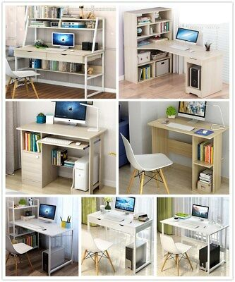Wooden Computer Desk PC Laptop Table W/Shelves Drawer Home Office Study Bookcase