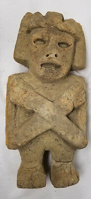 Antique Early Style Carved Sandstone Olmec Chontal Mayan Figure Hominoid Indian