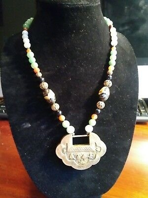 Estate Antique Chinese Jade & cloisonne gilt silver lock necklace