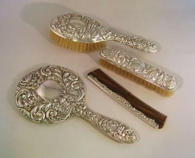 Silver Backed Mirror & Brush Set in Green Man Arts & Crafts Style: BHM 1977