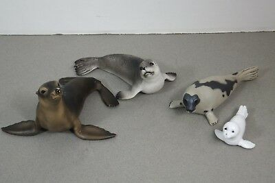 Lot of 4 Schleich & Safari Ltd. Seals Harp Seal & Pup Sea Lion