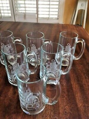 Six 1981 Order Of Myths O.o.m. Mardi Gras Favor Etched Glass Mugs With Emblem