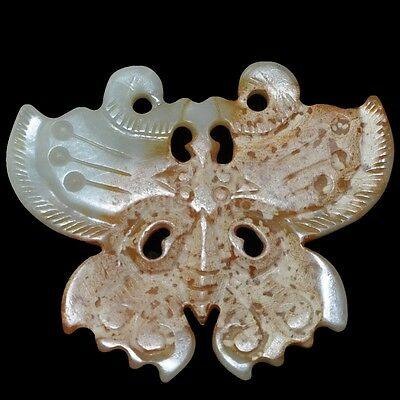 Natural jade of ancient Chinese culture wealth longevity pendant ~Butterfly