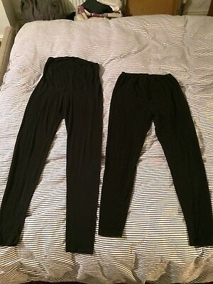 Two Pairs Of Maternity Leggings, Black Size M