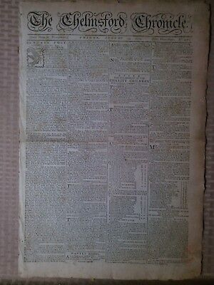 Vintage Newspaper August 13 1779 The Chemsford Chronicle English French Conflict