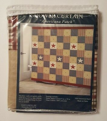Americana Patch Shower Curtain Patriotic Country Primitive Red Fabric Patchwork